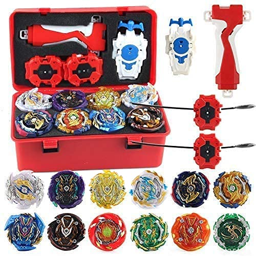 0BEST New 12 Pieces Set Gyros Bey Battling Top Burst with Pocket Box Gifts for Kids , with 4D Launcher Grip (RED)