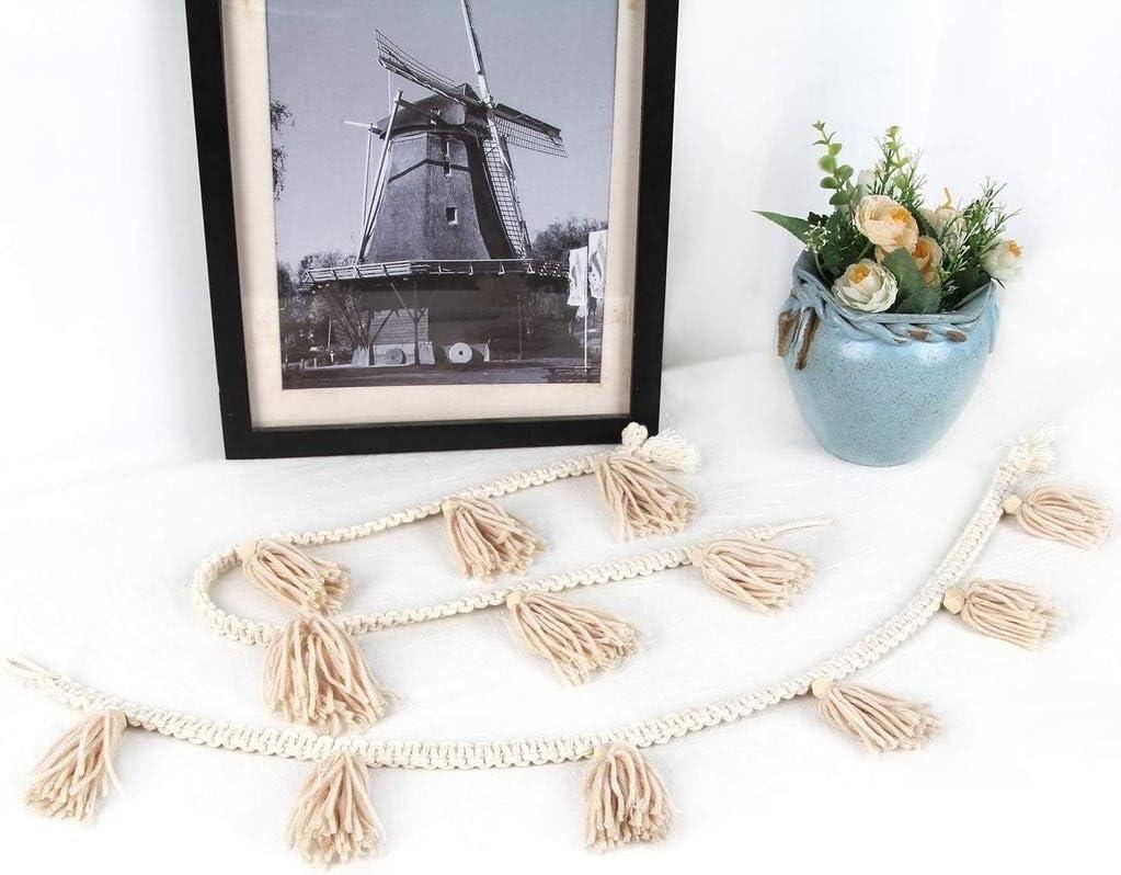 Hilo macramé tissé main éponte Fringe Garland Bannière Boho Chic décorations Appartement Dorm Home Décor mur tapisserie (Color : White) White