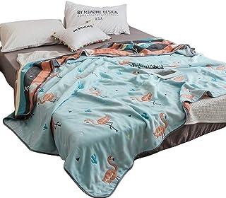 Hanacat 6重ガーゼケット セミシングル 綿100% 肌掛け ふわふわ 吸湿性 洗えるタオルケット フラミンゴ柄 ブルー(120×150cm)