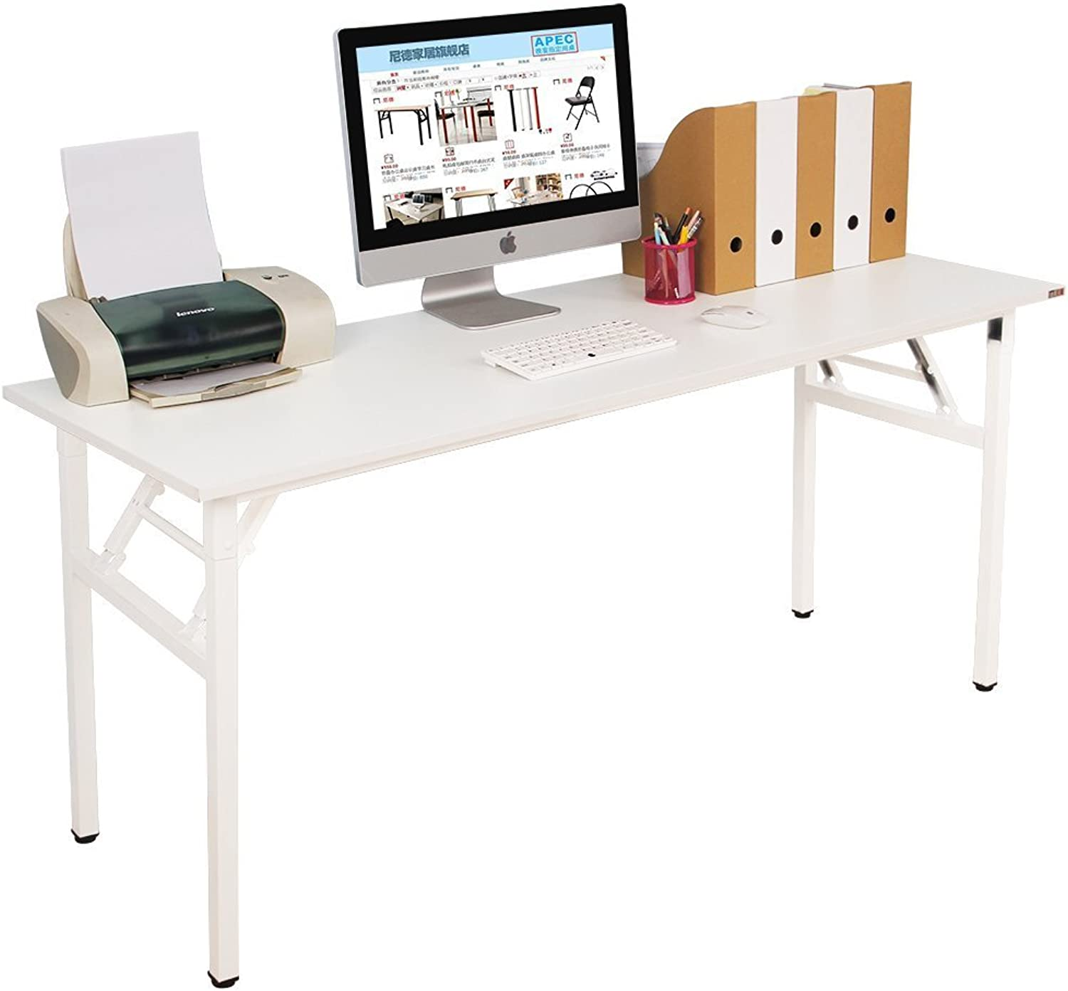 Need Computer Desk Office Desk 63  Folding Table with BIFMA Certification Computer Table Dining Table No Install Needed,White AC5DW-160-CA