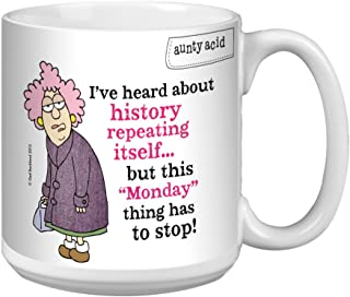 Tree-Free Greetings Extra Large 20-Ounce Ceramic Coffee Mug, Aunty Acid Repeating Mondays (XM41429)