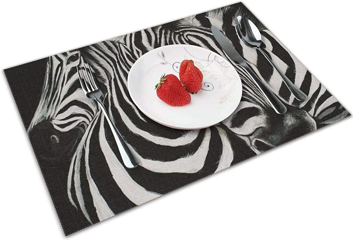 MNBVC Beautiful Zebra Watercolor Placemats Set Of 4 For Dining Table Washable Woven Vinyl Placemat Non Slip Heat Resistant Kitchen Table Mats Easy To Clean
