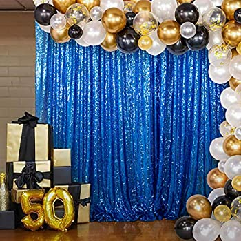 Royal Blue Sequin Backdrop Curtain 7FTx7FT BackdropsforPhotography SequinCurtains Wedding Party Background Fabric Backdrop Glitter Backgrounds Great Gatsby Party Decoration  7FTx7FT RoyalBlue
