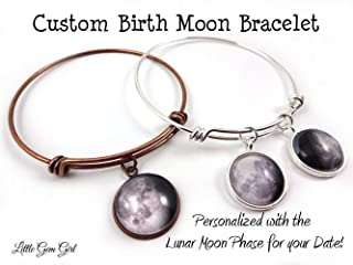 Custom Birth Moon Wire Wrap Bracelet in Silver, Stainless Steel, Rose Gold or Copper - Personalized Birthday Moon Phase Charm