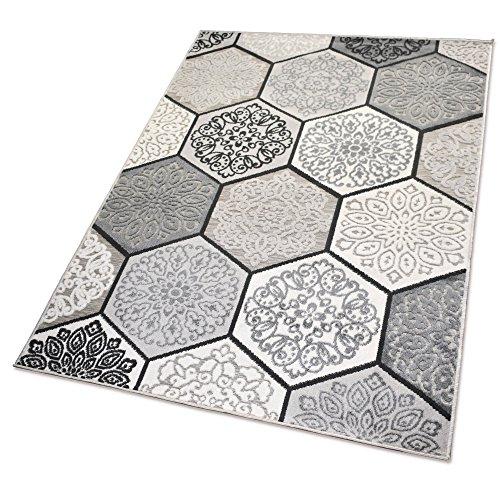 Balta Rugs In- und Outdoor-Teppich Classic Hexagon Tiles Grey M 120x170cm für Innen und Außen
