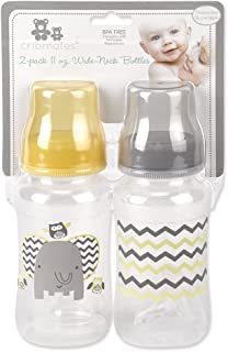 Cribmates 2 Piece Wide Bottle Elephant Zigzag, Grey/Yellow
