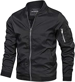 LAA NIHOW Mens Slim Fit Lightweight Jacket Softshell Flight Bomber Jackets Coat