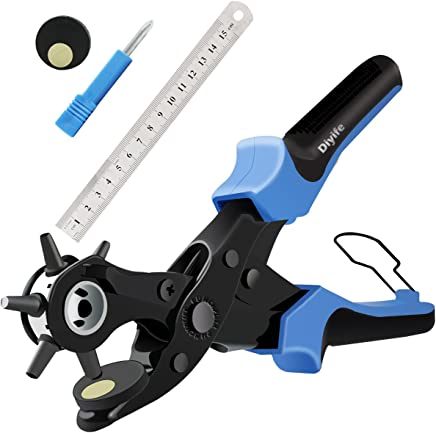 Diyife Alicate Sacabocados para Cinturones y Cuero, Perforador De Cuero para Trabajo Pesado (Juego Completo) Con 2 Placas Adicionales y Regla, Tamaño Múltiple para Manualidades, Tarjetas, Goma, Azul