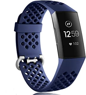 Wepro Bands Waterproof Replacement Compatible Fitbit Charge 3 for Women Men, Breathable Holes Watch Sport Strap Accessories for Fitbit Charge 3 SE Fitness Tracker, Large,Navy Blue