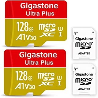 【5年保証】Gigastone Micro SD Card 128GB マイクロSDカード 2pack 2個セット A1 V30 UHD 4K ビデオ録画 高速4Kゲーム Nintendo Switch 動作確認済 95MB/s マイクロ SDXC UHS-I U3 C10 Class 10 micro sd カード SD 変換アダプタ付 w/adaptor