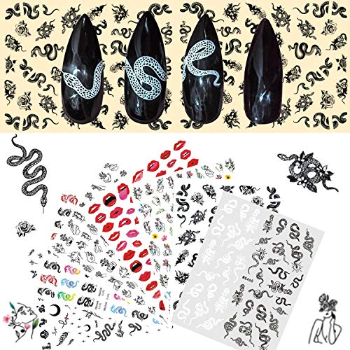 8 Sheets Snake Pattern self-Adhesive Nail Art Stickers Decals,Nail Stickers with Patterns Like Dragon Snake,Butterfly, Love, Rose, for DIY Acrylic Nail Art (Fashion Series)