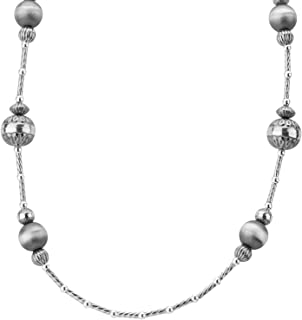 American West Sterling Silver Native Pearls Beaded Stations Necklace 24 Inch