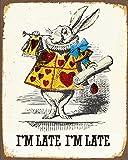 """Cartello da parete, motivo: Alice nel paese delle meraviglie, con scritta """"Rabbit I'm late"""" [in lingua inglese], in stile vintage, dimensioni: 15 x 20 cm, terga con stampa artistica retro"""