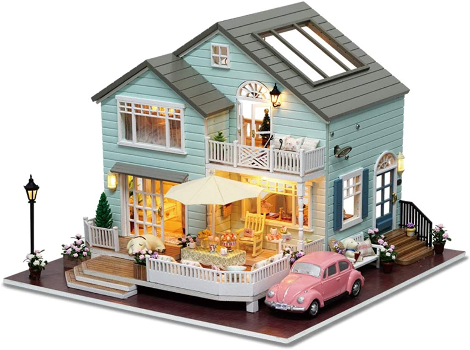 JLA Dollhouse Spielzeug, Hngekorb, Holzzug, Handmade Toy Assembly Puzzle Model, Doll House Toy Girl and Boy, Best Gift