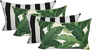 Set of 4 Indoor / Outdoor Decorative Lumbar / Rectangle Pillows - 2 Made with Tommy Bahama Swaying Palms Aloe Green Tropical Palm Leaf Fabric and 2 Black and White Stripe Fabric