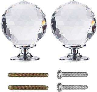 Crystal deurknoppen 60mm Diamond Pull Handvat Clear Glass Deurknop Massief Ronde Crystal Cut Facet met Schroef en Accessoi...