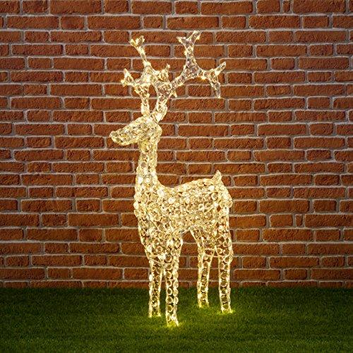 Xmas King Reno con Cristales, 120 cm, 250 LED luz cálida, decoración...