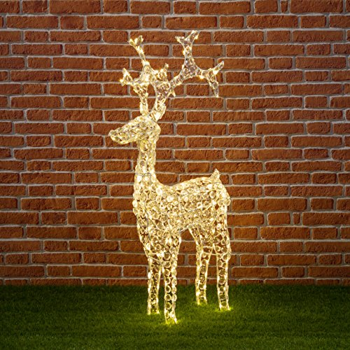XMASKING Renna con Cristalli H120 cm, 250 LED Bianco Caldo,...