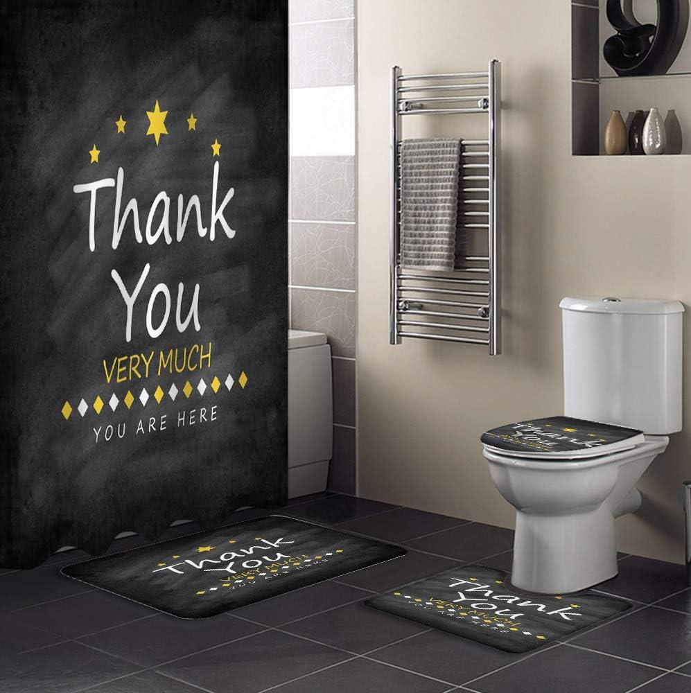 4 Piece Shower Curtain Under blast sales Sets Theme Black Background Max 51% OFF Thanksgiving