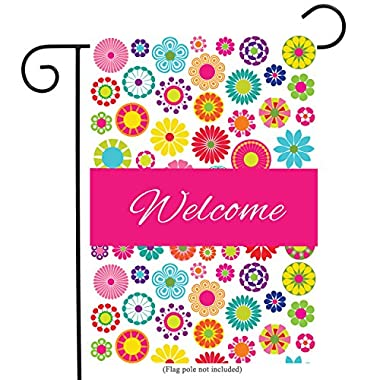 Olive Green Welcome Floral Garden Flag Double-sided Vivid Color Flowers Yard Flag, Polyester, Great Design Yard Flag to Brighten Up Your Home 12  x 18  + BONUS Rubber Stopper and Anti-wind Clip