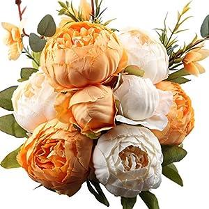 Silk Flower Arrangements LeagelFake Flowers Vintage Artificial Peony Silk Flowers Bouquet Wedding Home Decoration, Pack of 1 (New Orange)