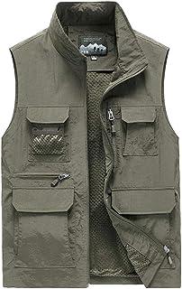 Vest Men's mesh Quick-Drying vest Multi-Pocket vest Fishing Suit Outdoor vest Thin Summer vest (Color : Khaki, Size : M)