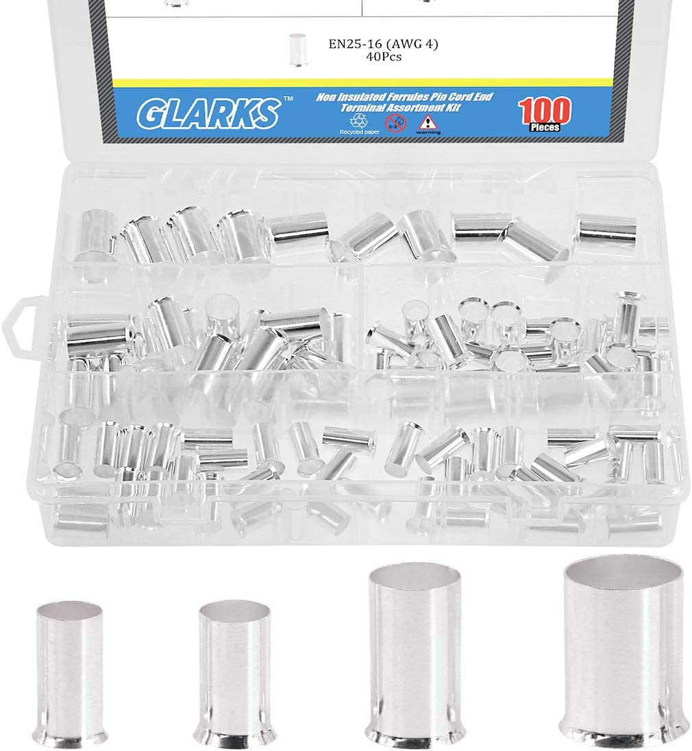 Glarks 100Pcs Jacksonville Mall AWG 1 year warranty 4 2 0 P Crimp Connector Silver Wire Copper