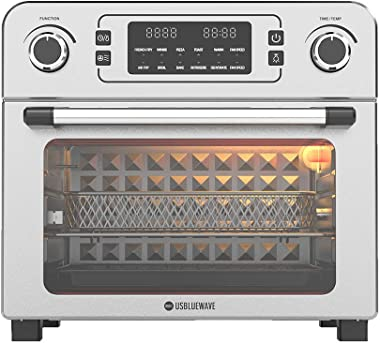 USBLUEWAVE White Coding Stainless Steel 1700W 10-in-1 Large Digital Air Fryer Oven Convection Rotisserie Oven Toast/Bake/Broil/Roast/Dehydrate 24Qt