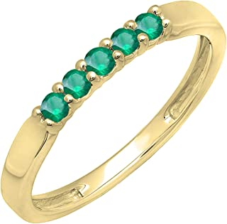 Dazzlingrock Collection 10K Round Gemstone 5 Stone Ladies Anniversary Wedding Band Ring, Yellow Gold