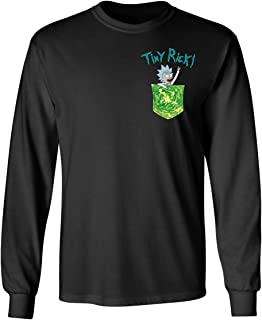 KING THREADS Rick and Morthy Picke Tiny Rick Pocket Shirt TV Funny Mens Long Sleeve T-Shirt