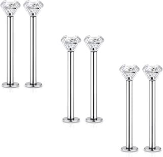 6pcs 16G Stainless Steel Labret Dimple Cheek Tongue Rings Barbell Body Piercing Jewelry 4mm Clear Cubic Zirconia Inlaid 14mm-19mm Bar Length