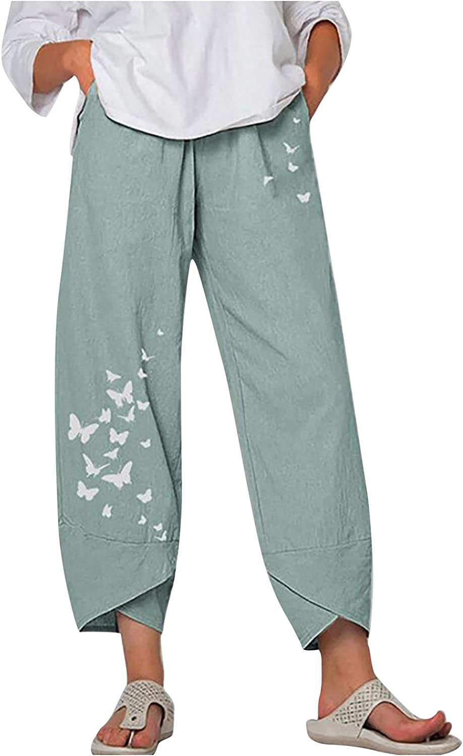 Women's Casual Fashion Loose Cotton and Linen Butterfly Print Wide-Leg Pants Summer Casual Pants