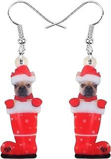 NEWEI Acrylic Christmas Sock Hat Pug Dog Earrings Dangle Drop Puppy Animal Jewelry For Women Charm Accessories
