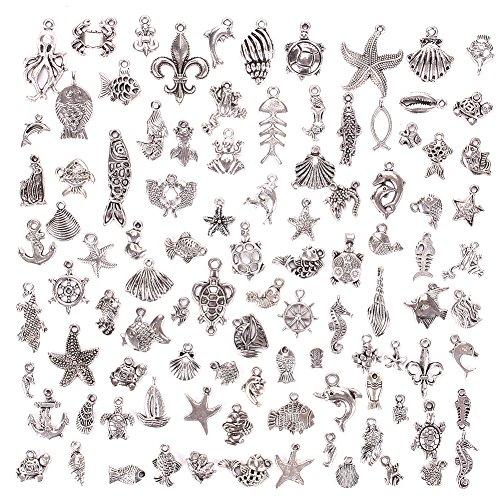 JuanYa 100 Stücke Ozeanabschnitt Charm DIY Anhänger zum Basteln von Schmuck, verschiedene Motive, 01#