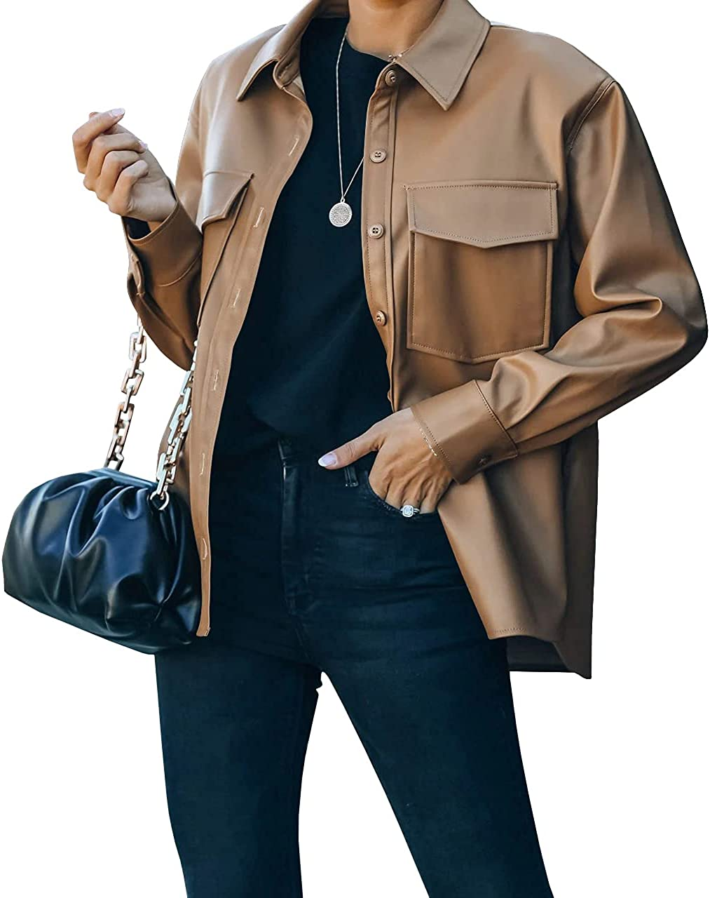 FERNGIRL Womens Button Front Faux PU Leather Jacket Shacket Casual Shirt Long Sleeve Blazer Coat with Bust Pocket