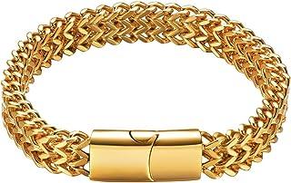 Fashion Acier inoxydable Curb Chain Bracelet pour hommes 10//12//14mm argent//or//noir