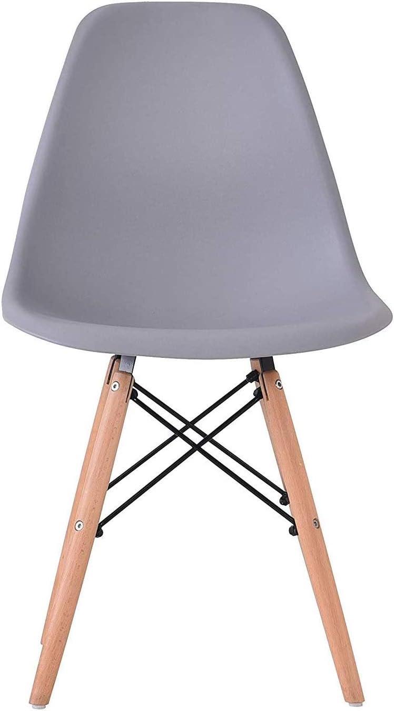 BenyLed Lot de 6 Chaises de Salle à Manger Contemporaines en Plastique Design Rétro Chaise D'appoint pour Salle à Manger, Cuisine, Bureau, Restaurant, etc (Blanc) 6-gris