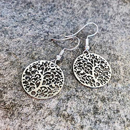 Ohrringe SILVER TREE Baum des Lebens versilbert handmade einzigartig Muster modern Damen Schmuck...