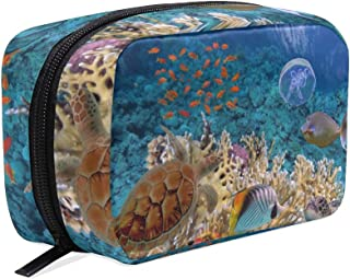 Coral Reef Fishes Sea Turtle Underwater Small Makeup Bag Purse Travel Makeup Pouch Mini Cosmetic Case Women Girls