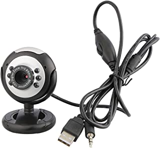Digital Video Webcam 6 LED USB Webcam cámara de 12 megapíxeles Webcam con micrófono Función de visión Nocturna Adecuado para PC de Escritorio del Ordenador portátil