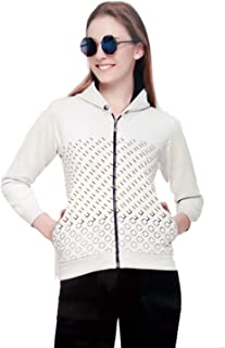 Fashion Hub Women's White Woolen Sweatshirt