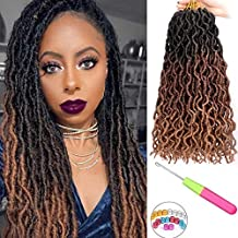 6 packs Gypsy Locs Crochet Goddess Faux Locs Ombre Curly Wavy Nu Locs Twist Braiding Hair Extensions Dreadlocks Hair 18 inches for Braiding 18 Strands Per Pack(Black/Dark brown/Light brown)