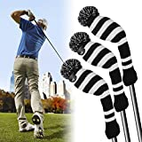 XCSOURCE 3pcs Golf Club Driver Knitted Headcover Pom Pom Golf Head Covers Irons Protective Set for Titleist...