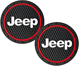 2.75 inch Car Interior Accessories Anti Slip Cup Holder Insert Coaster Mat fits Jeep Grand Cherokee Wrangler Compass Cherokee Renegade Patriot Grand Comander Decoration,etc All Models 2 Pack