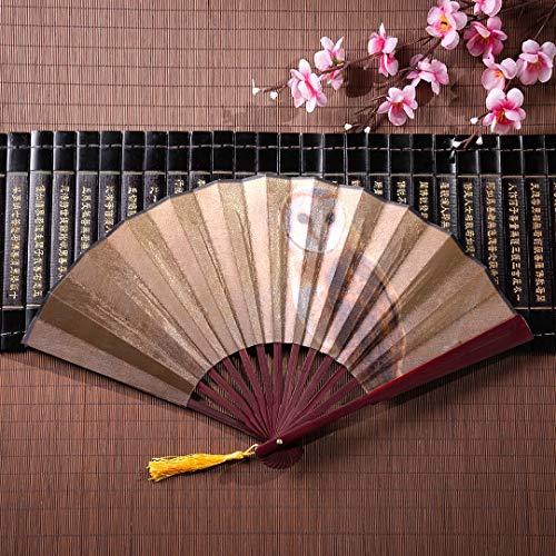 Búho abanico plegable personalizado en el hermoso bosque con marco de bambú Borla colgante y bolsa de tela Abanicos plegables de mano para mujer Abanico abanico grande Ventilador de pared japonés gra