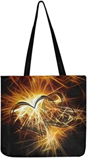 Sparkler Light Bill New Year S Eve Heart Love Canvas Tote Handbag Shoulder Bag Crossbody Bags Purses For Men And Women Shopping Tote