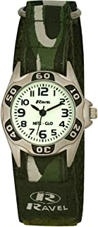 Ravel Nite-Glo Quartz Luminous Dial Army Green Velcro Boys Watch R1704.11