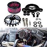 TUINCYN Sistema de filtros de aire universales para motocicleta con control numérico negro cromado para Harley Davidson Sportster XL883/1200 X 48 2004-2014 Scooter (Paquete de 1)