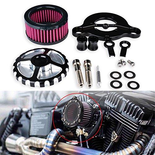 TUINCYN Moto universel Air Fliters Fliters de prise d'air Système avec CNC Noir chromé Craft de montage pour Harley Davidson Sportster Xl883/1200 x 48 2004–2014 Scooter (lot de 1)