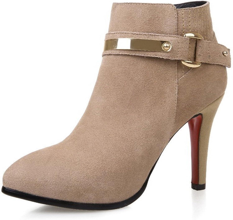 AllhqFashion Women's High-Heels Closed Toe Blend Materials Low-Top Solid Zipper Boots